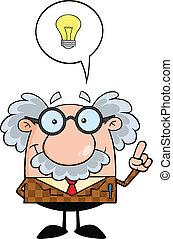 Professor With Good Idea Cartoon Character