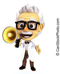 professor with megaphone - 3d render professor series