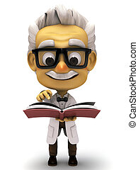Professor with pointing in of book - 3d render cartoon...