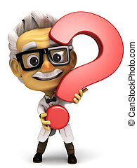 Professor with question mark symbol - 3d render cartoon...
