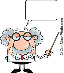 Professor With Speech Bubble - Funny Scientist Or Professor...