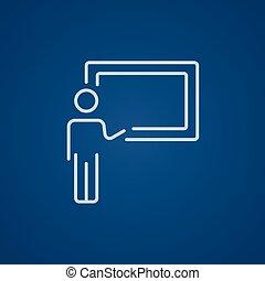 professor, zeigen, tafel, linie, icon.