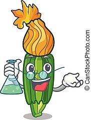 Professor zucchini flowers in shape a cartoon vector...