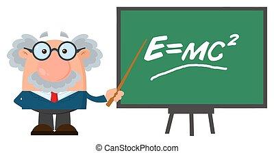 professore, carattere, o, scienziato, presentare, einstein, formula, puntatore, cartone animato