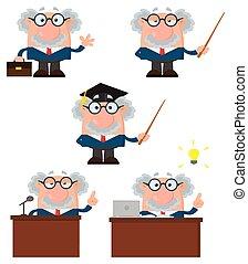 professore, character., -, collezione, o, 1, scienziato, cartone animato