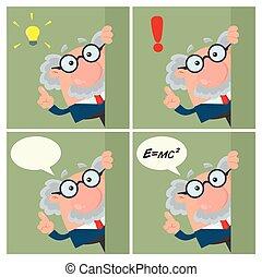 professore, character., -, collezione, o, 3, scienziato, cartone animato
