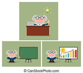 professore, character., -, collezione, o, scienziato, 5, cartone animato