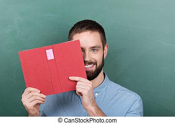 professore, contro, libro, lavagna, presa a terra, maschio