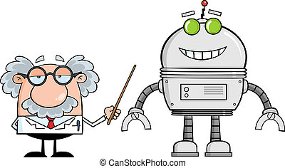 professore, robot, grande