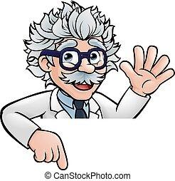 professore, scienziato, cartone animato, indicare, segno