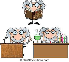 professore, scienziato, collezione, o, 6