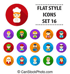 Proffesion set icons in flat style. Big collection proffesion bitmap,raster symbol stock illustration