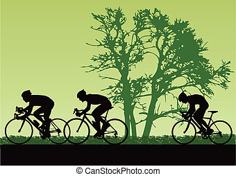 Proffesional cyclists. Vector illustration for you design