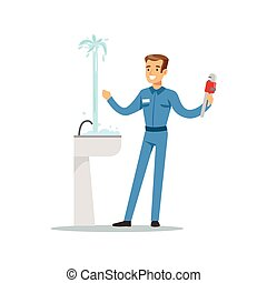 Proffesional plumber man character repairing leaking pipe, plumbing work vector Illustration