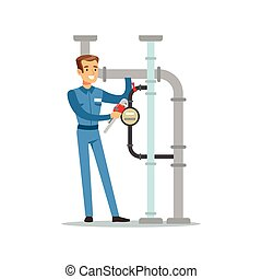 Proffesional plumber man character installing a water meter on a pipeline, plumbing work vector Illustration