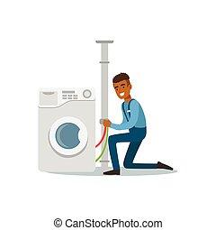 Proffesional plumber man character installing washing machine, plumbing work vector Illustration