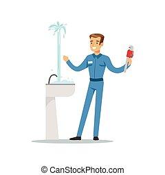 Proffesional plumber man character repairing leaking pipe, plumbing work vector Illustration