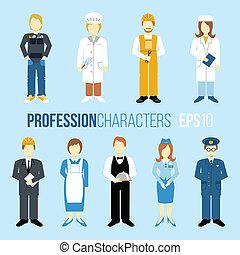 proffession, set, karakters