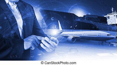 profi, dolgozó, ember, levegő, rakomány, munkaszervezési, és, iparágak, szállítás, ügy