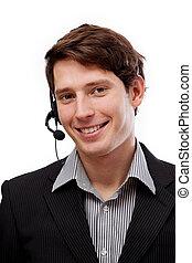 profi, fiatal, telemarketer