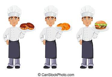 profi, pék, jelentékeny, egyenruha