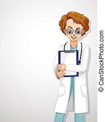 profi, young orvos, fehér, sablon