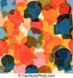 profiel, anders, mensenmassa, model, heads., seamless, achtergrond., vector, velen