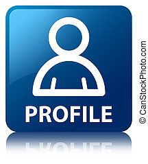 profiel, blauw vierkant, knoop, (member, icon)