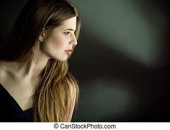 profiel, bovenkant, verticaal, van, jonge vrouw