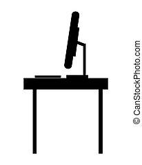 profiel, bureau, computer ikoon