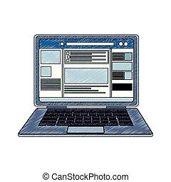profiel, draagbare computer, krabbelen, netwerk, sociaal