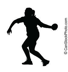 profiel, draaien, discus, bovenkant, thrower, meisje, werpen