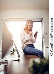 profiel, het bijwerken, haar, online