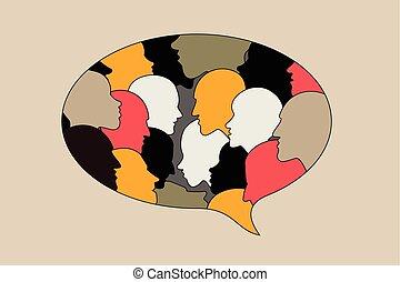 profiel, hoofd, bubble., silhouettes., discussie, dialoog,...