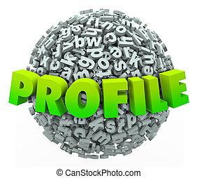 profiel, informatie, bal, woord, persoonlijk, update, bol, brief