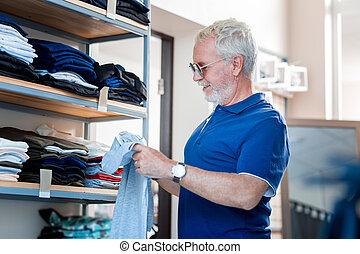 profiel, klant, kleding, verwonderd, winkel