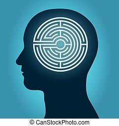 profiel, labyrint, hoofd, man