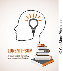 profiel, lightbulb, concept, moderne, education., infographic, boekjes , mal, hoofd