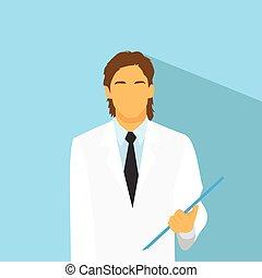 profiel, plat, arts, medisch, ontwerp, verticaal, mannelijke , pictogram