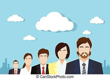profiel, plat, groep, zakenlui, kleur, menselijk, team, middelen