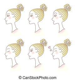 profiel, set, expression., van een vrouw, avatar., emotions., gezichts, meisje