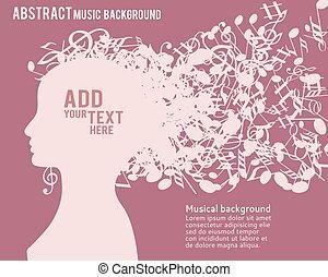 profiel, silhouette, abstract, jonge, illustratie, gezicht, haar, vector, meisje, muzikalisch
