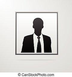 profiel, silhouette, avatar, zakenman, verticaal, mannelijke , pictogram