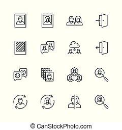 profiel, stijl, set, verwant, vector, mager, sociaal, lijn, pictogram