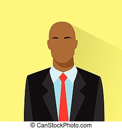profiel, stoutmoedig, afrikaanse amerikaan, zakenman, verticaal, mannelijke , pictogram