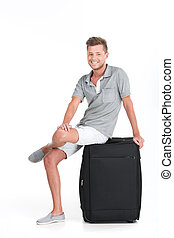 profiel, vasthouden, bagage, zittende , het glimlachen., zak, achtergrond, kerel, mooi, witte , man