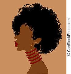 profiel, vrouw, afrikaan