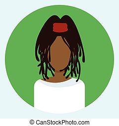 profiel, vrouw confronteren, amerikaan, avatar, vrouwelijke afrikaan, ronde, pictogram
