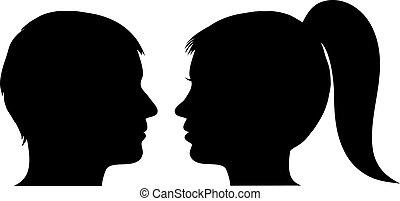 profiel, vrouw, man confronteren