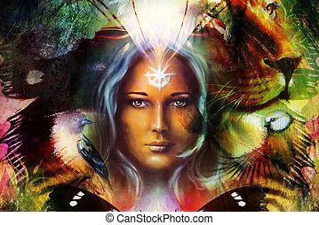 profiel, vrouw, mystiek, ornament, gezicht, tiger, achtergrond., leeuw, computer, machtig, collage, portrait., het hoofd van de vogel, schilderij, vlinder